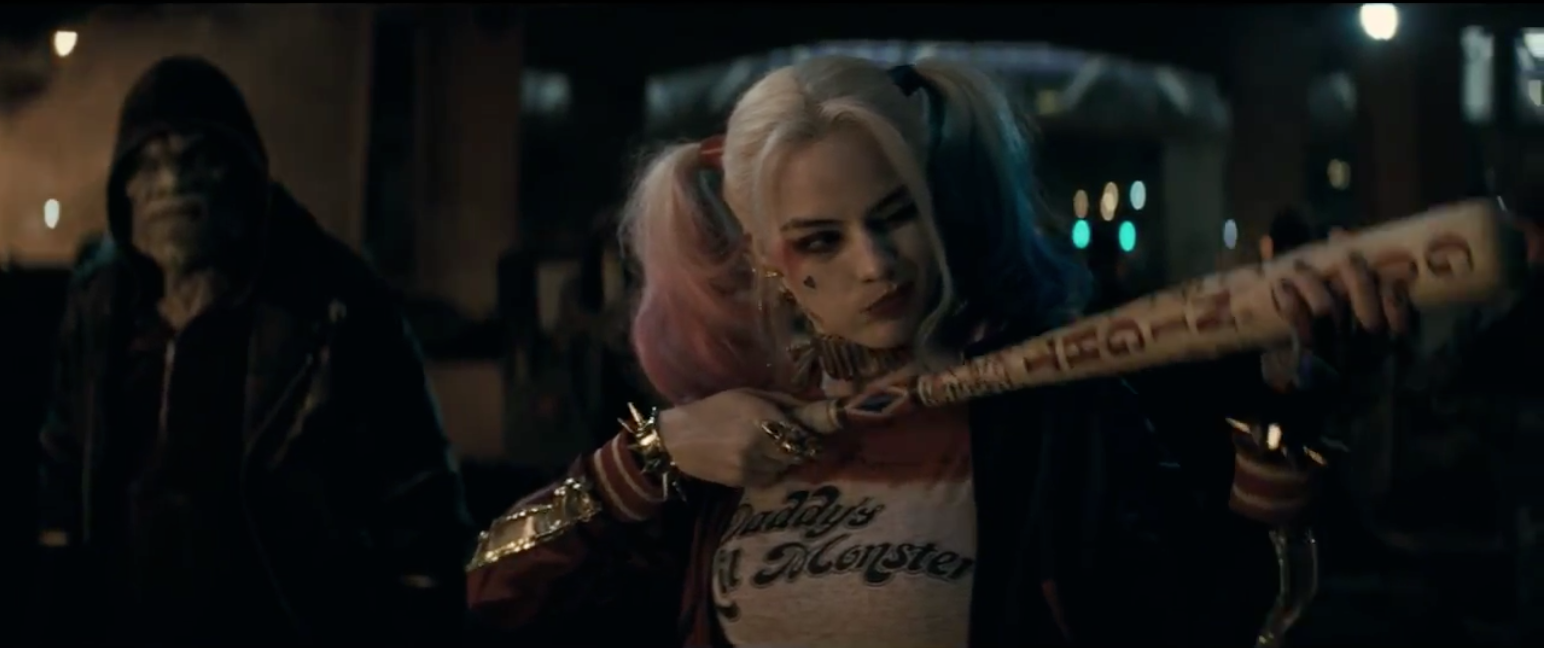 Margot Robbie as Harley Quinn in suicide squad trailer by DC comics Warner Bros.