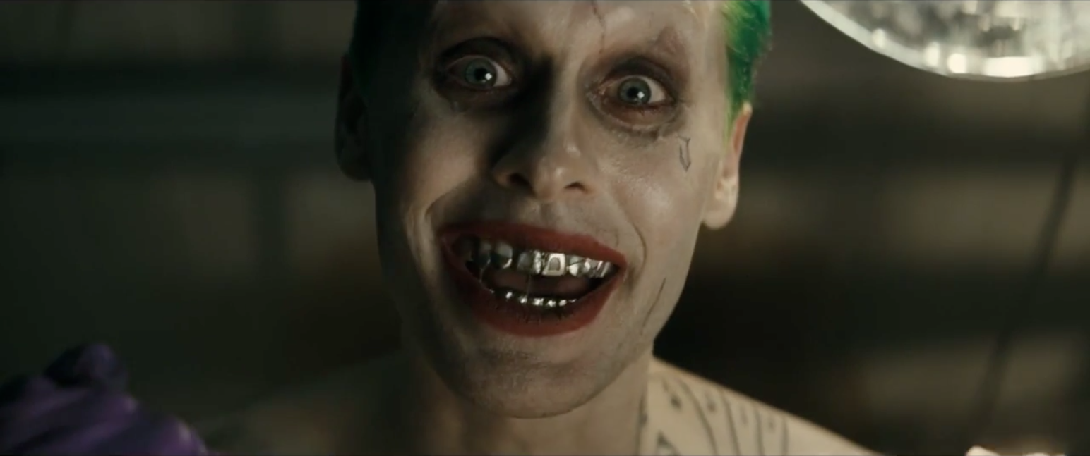 Jared Leto as the joker in suicide squad trailer by DC comics Warner Bros.