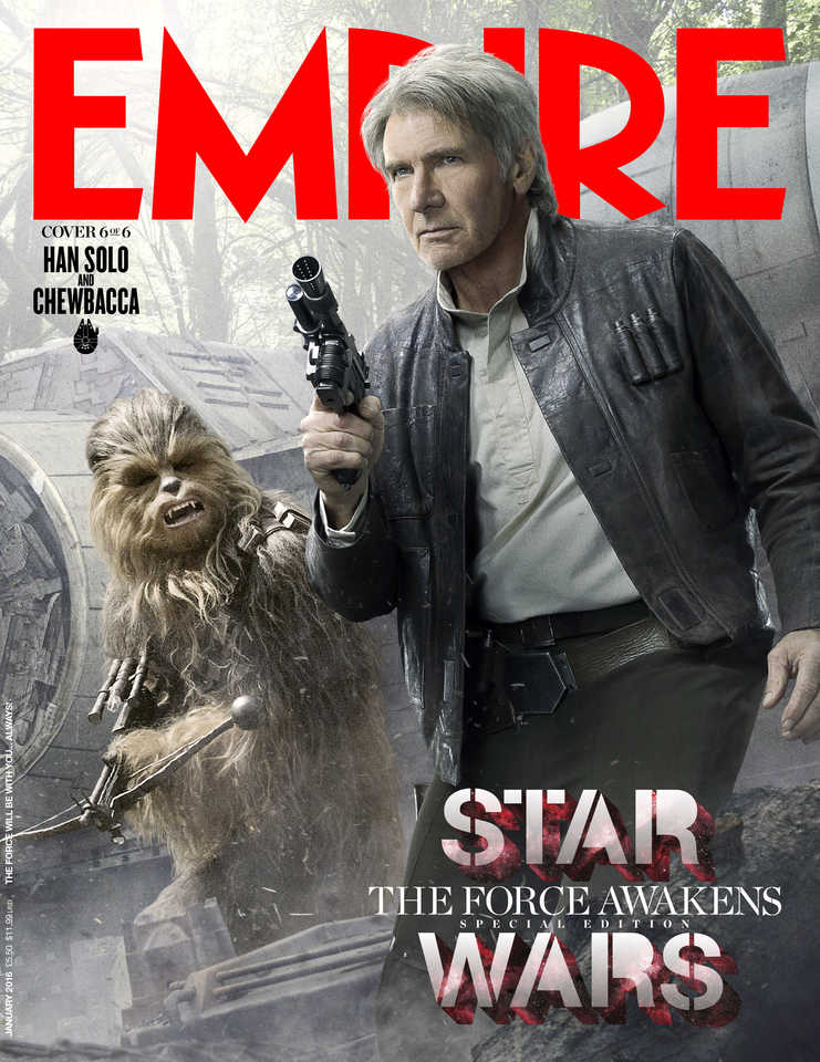 Star Wars The Force Awakens Trailer Poster Empire Magazine Daisy Ridley Rey Finn John Boyega Harrison Ford Han Solo Luke Skywalker Mark Hamill Carrie Fisher Leia Oregan Poe Dameron Oscar Isaac Gwendolyn Christie Captain Phasma Kylo Ren Adam Driver Episode VII Episode 7 trilogy latest news updates rumours